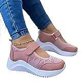 ZYLL Zapatos Casuales de Verano para Mujer, Zapatillas Deporte Zapatos Malla Transpirables 2021, Antideslizante Informales vulcanizados Barco Mujer,Rosado,36