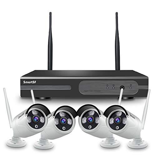 【2020 Update】SmartSF 1080P 4CH HD NVR Kit de Seguridad WiFi Vigilancia Inalámbrica Sistema, 4*2MP 1080P CCTV Cámara,65ft Night Vision,P2P,Motion Detection,sin HDD(Compatible con cable e inalámbrico)