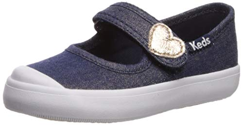Keds Girls' Harper Mary Jane Flat, Denim Sparkle, 6 M US Toddler
