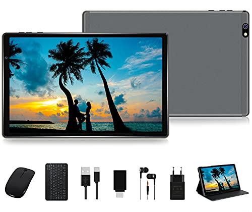 FACETEL Tablet 10 Pulgadas HD Android 10 Pro Tablet PC Octa-Core 1.6 GHz 4GB + 64GB (TF 128GB), Tableta con Teclado y Mouse, Google GMS, Cámara Dual, Bluetooth 4.0 | Hotspot Móvil | WiFi - Gris