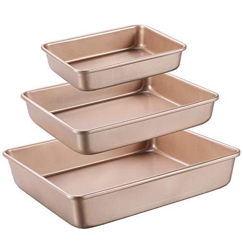 Joho Deep Baking Pans Nonstick Set, Cookie Sheet Baking Sheet Pan, Bakeware Rectangle Cake Pan for Oven, 3 Piece, Gold