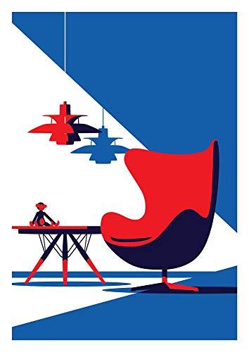 Eine Hommage an dänische Designikonen. The Egg Chair Arne Jacobsen, The PH 5 Lamp Poul Henningsen, Esstisch Hans J Wegner, The Ape Kay Bojesen Fine Art Giclée Druck 10 Farben lebendige Reproduktion