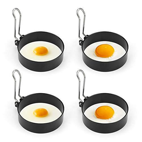 Edelstahl Ei Ring Bestcool 4er Spiegeleiform für Bratpfanne Ei Ringe Pfannkuchenform Rund Omelett Form Für Eier Kochen,7*2cm