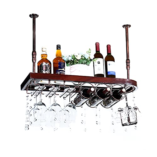 botellero Vino Botellero para Vinos, Estante de Madera Maciza para Barra de Bar, Soporte para Copa de Vino Colgante, Decoración de Estante de Almacenamiento de Vino (Color : A, Size : 120 * 28CM)