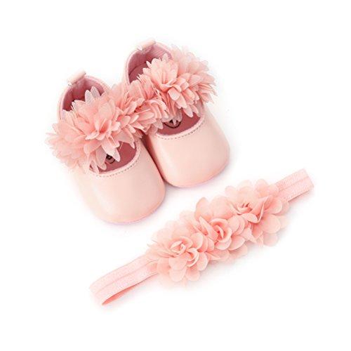 EDOTON Baby Mädchen Blume Schuhe mit Haarband Anti-Rutsch-Weiche Taufe Prinzessin Lauflernschuhe Sneaker für Kleinkind (0-6 Monate, Rosa)