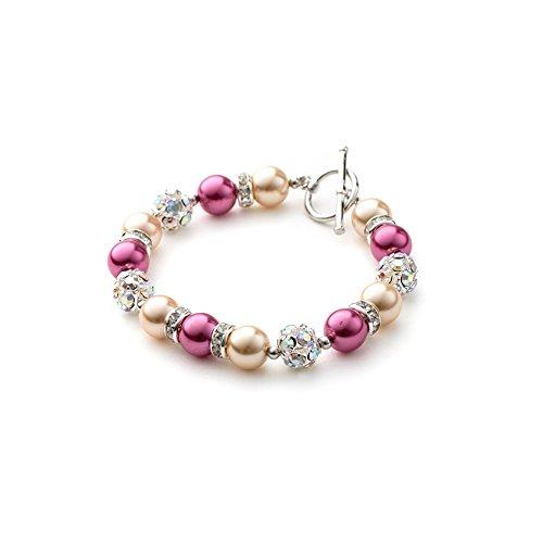 Blue Pearls–naranja y rosa perlas, cristal y chapado en rodio 1fila pulsera OCP 0108