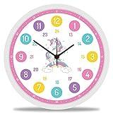 GRAVURZEILE Wanduhr Kinder Einhorn Motiv - Lautlose Kinderwanduhr geeignet für Mädchen - Bunte Lernuhr für Kinder 30 cm - Einfaches Ablesen der Uhrzeit Lernen - Farbenfrohes Design