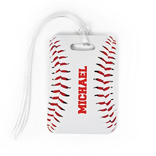 Baseball Luggage & Bag Tag | Personalized Baseball Stitches | No Personalization on Back | MEDIUM