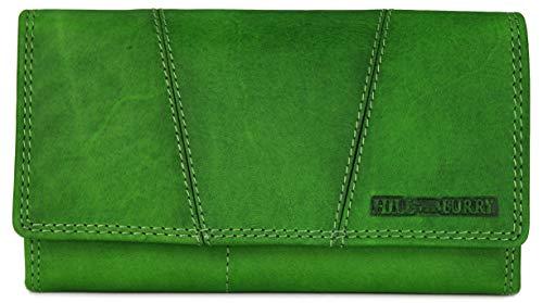 Hill Burry Vintage Leder Damen Geldbörse Portemonnaie Geldbeutel Portmonee aus weichem Leder in grün - 17,5x10x3cm (B x H x T)