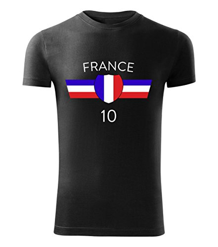 Fußball Trikot T-Shirt EM 2016 alle Länder Deutschland Frankreich Island Wales - France (Schwarz, S)