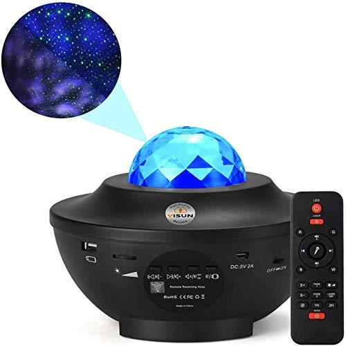 YISUN LED Projektor Sternenhimmel Lampe, Sternenhimmel Projektor Lampe mit Fernbedienung, Bluetooth Lautsprecher-Musik hören Welleneffekt für Party, Weihnachten, Ostern, Halloween (Schwarz)