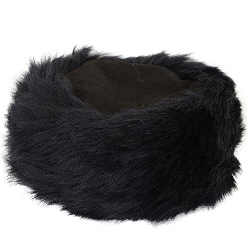 Bushga Damen Mütze aus Schaffell, Kosaken-Stil Gr. Medium, Schwarz