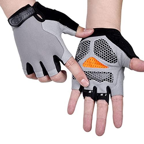 AOOF Guantes deportivos para hombre y mujer, antideslizantes, resistentes al sudor, con medio dedo, absorción de golpes, antideslizantes, transpirables, para moto y bicicleta de montaña L TypeB-Gray