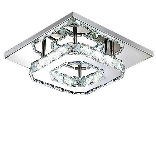 BIOBEY Kristall Deckenleuchte, Moderne Quadratische Kristall Deckenleuchte für Wohnzimmer Korridor Balkon Hotel