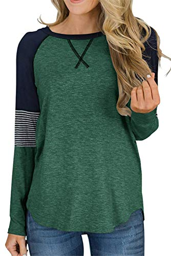 QAKEHU Damen Langarmpullover Crewneck Lounge Tunika Übergroße T-Shirt Tops Pink S. Grün M