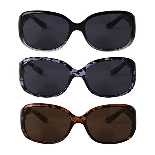 Hyyiyun Bifocal Reading Sunglasses for Women 3 Pairs Vintage Outdoor Square Reader Glasses