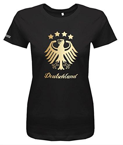 WM 2018 Deutschland Adler - 4 Sterne Gold - Damen T-Shirt in Schwarz by Jayess Gr. XXXL