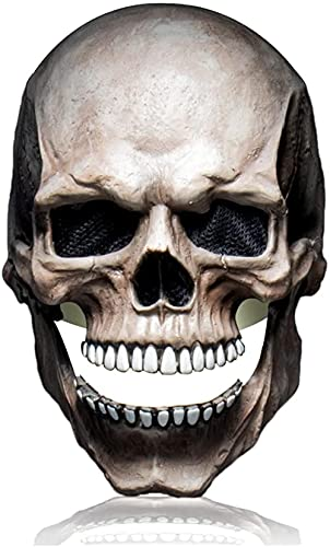 TEPET W Halloween Skull Movable Jaw Cosplay Scary Skeleton Evil Killer Ghost Face Latex s Casco Halloween Masquerade Party Props