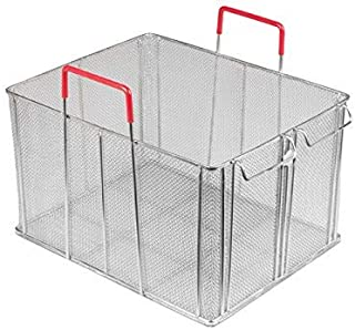 Winco MPN-1613, 16.5'' x 13.5'' x 10'' Stainless Steel rectangle Bulk Pasta Basket, Food Strainer, Commercial Boil Basket