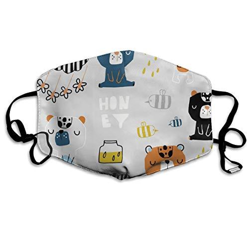 Architd Nahtlose Kinder-Maske mit süßen Bären, Honig-Mundmaske, Baumwolle, waschbar, für Männer und Frauen, zum Radfahren, Camping, Reisen