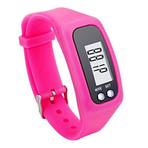 uu19ee Fitness Tracker Armbanduhr einfach Bedienung Walking Running Schrittzähler mit kalorienverbrennung und Schritte Zählen, rosarot