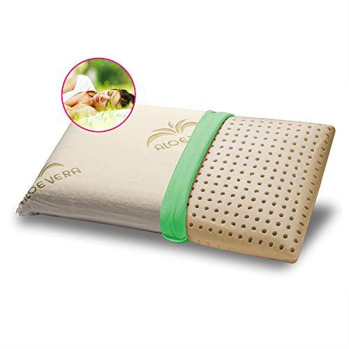 GEEMMA s.r.l. Almohada 100% látex 40 x 70 cm H12 cm Almohada para cama modelo jabón con tejido de aloe vera desenfundable y lavable almohada colchón hipoalergénico - Milk