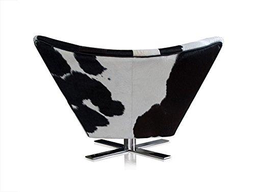 NEUERRAUM Wunderschöner V-förmiger drehbarer Kuhfell (Pony) Ohrensessel Fernsehsessel Armlehnsessel Lounge Sessel. Abbildung in Kuhfell Schwarz-Weiß.