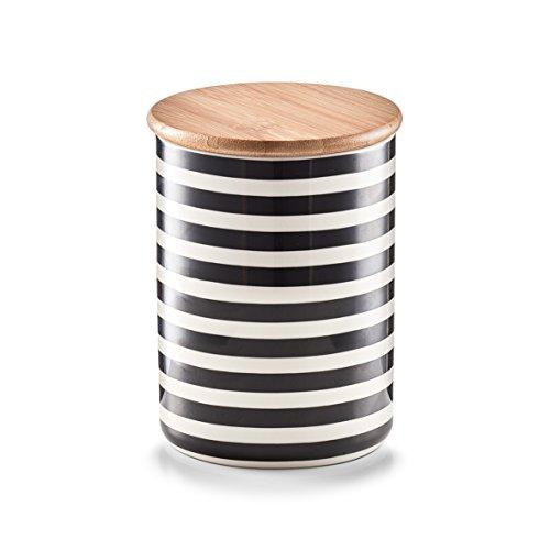 Zeller 19823 Vorratsdose m. Bamboodeckel 'Stripes', Keramik, ca. Ø 10 x 13 cm