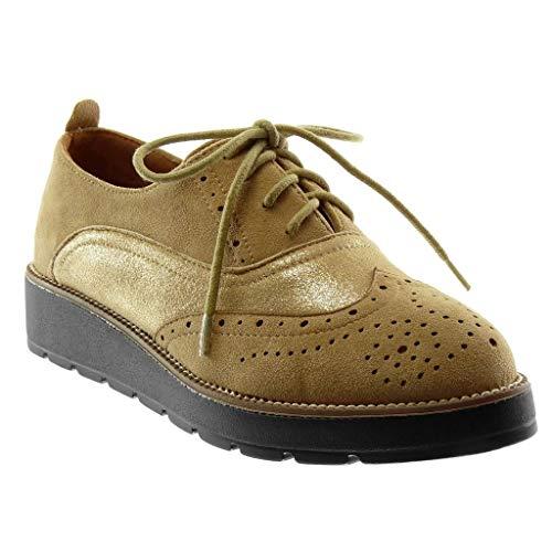 Angkorly - dames schoenen Brogue schoen - bi-materiaal - Plateauschoenen - Glitter - glanzend - Geperforeerde wighak hoge hak 3,5 cm
