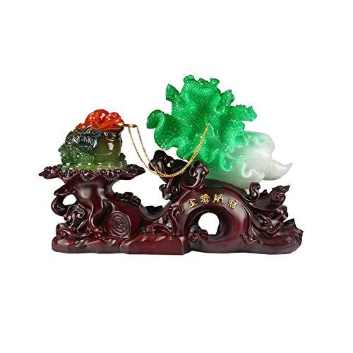 hongbanlemp Estatuas Decorativas Lucky Golden Sapo Decoración Golden Toad Crafts Casajero Escritorio Escritorio Dinero Frog Decoración Negocio Interior Feng Shui Decoración Salon Estatuas Decorativas