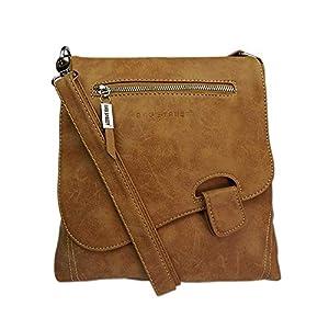 Bag Street - Bolso de hombro con presilla, aspecto desgastado, coñac (Marrón) - 3421 | DeHippies.com