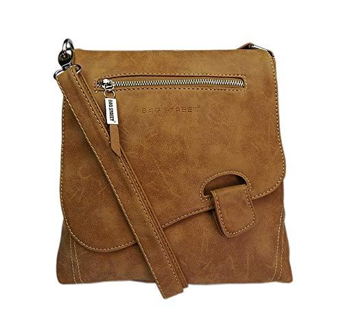 Bag Street - Bolso colgado al hombro, aspecto desgastado, coñac (Marrón) - 3421