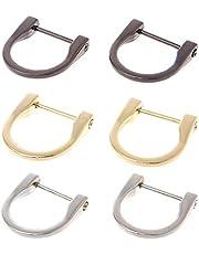 6 st 3,7 cm D-ringar hästskoformad D-ring, u-formade D-ringar, skruv i boja hästskoform D-ring gör-det-själv läder hantverk handväska nyckelring tillbehör (guld, silver, nickel