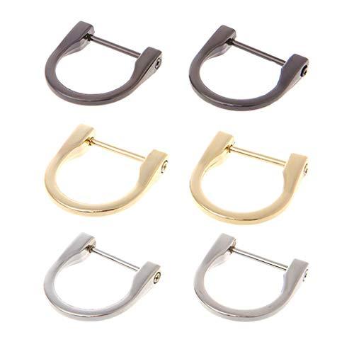 """CAILI 6 Stück Metall D-Ring,Schnallen mit D-Ring-Schraube,1.46\"""" abnehmbare Tasche Strap Haken für Handtasche und Geldbörse(Gold, Silber, Nickel Schwarz)"""