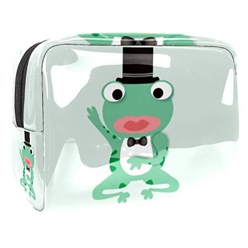 Bolsa de maquillaje portátil con cremallera, bolsa de aseo de viaje para mujeres, práctica bolsa de almacenamiento cosmético caballero rana