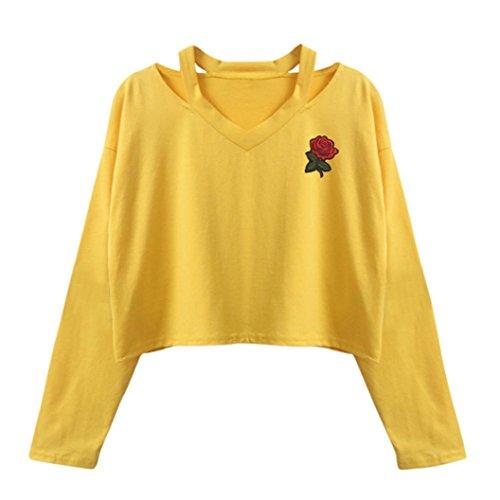 Amlaiworld Sweatshirts Rose Stickerei locker Sweatshirt Damen Blumen kurz Niedlich Pullover warm weich Herbst Pulli (S, D, Gelb)