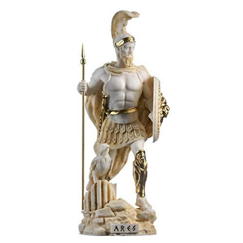 BeautifulGreekStatues Ares Marte Dios de la Guerra Zeus hijo Estatua romana Alabastro, tono dorado 9.84
