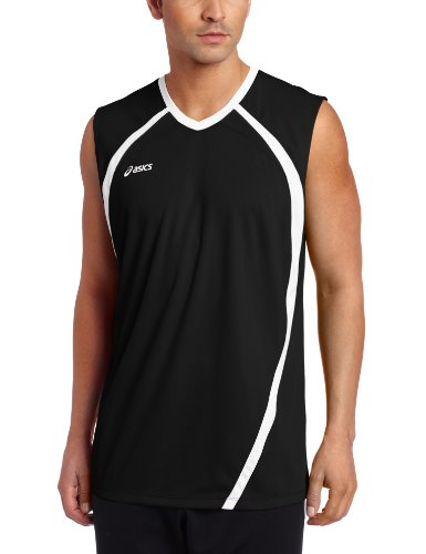 ASICS Men's Performance Tyson Sleeveless Top, Black/White, Large