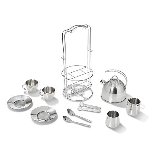 Melissa & Doug Stainless Steel Tea Set,Silver