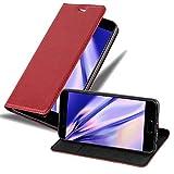 Cadorabo Hülle für Huawei P10 - Hülle in Apfel ROT – Handyhülle mit Magnetverschluss, Standfunktion & Kartenfach - Hülle Cover Schutzhülle Etui Tasche Book Klapp Style