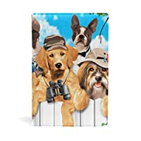 ブックカバー 文庫 a5 皮革 レザー 柵の外の犬たち 文庫本カバー ファイル 資料 収納入れ オフィス用品 読書 雑貨 プレゼント