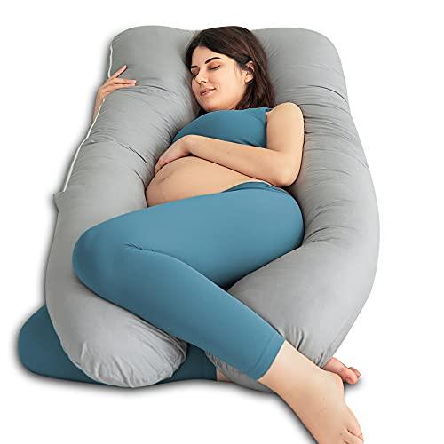 QUEEN ROSE Oreiller de grossesse, oreiller de corps avec la couverture remplaçable et lavable (140_x_78_cm, Coton, Gris)