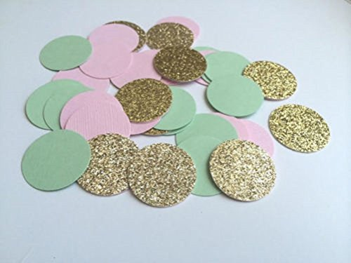 Designs by DH Confetti 100 pieces Paper Scalloped Circles Mint Green Pink Gold Birthday Wedding Party Baby Shower Gender Reveal Mermaid Bubbles Decor