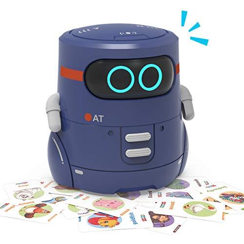 REMOKING Intelligent Roboter Kinder Spielzeug, Kartenspiel, Touch-Steuerung, Sprachaufnahme, Nachsprechen, Tanzen, Musik, Geschenke für Jungen Mädchen(Blau)