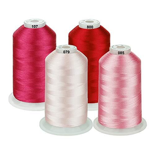 Simthread naaimachine borduurgaren 5000 m spoelen set polyester borduurgaren voor brother/babylock/Bernette/Janome/Singer/Kenmore naaimachine en borduurmachine 4 roze