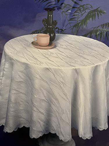 Damast YSN610 tafelkleed, lotuseffect - 160 cm rond (grijs)