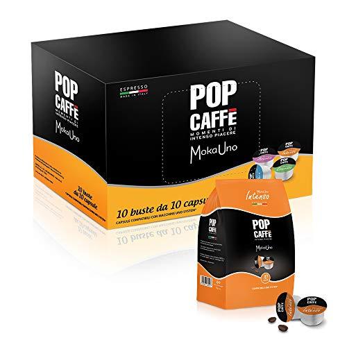POP CAFFE' MOKA UNO .1 MISCELA INTENSO 100 CAPSULE COMPATIBILI UNO SYSTEM, ILLY E KIMBO