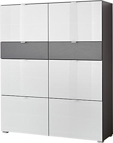 Germania 3315-110 Schuhschrank mit 6 Schuhklappen GW-Alameda in Anthrazit/Weiß, 120 x 146 x 39 cm (BxHxT)