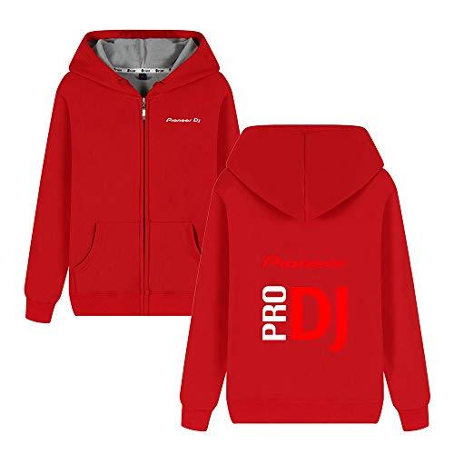 Pioneer Pro Dj Mäntel Zipper Loses bequemes Kapuzenmantel Plus Samt aus Reiner Baumwolle Fashion Printing-Jacken Pioneer Pro Dj Kapuzenpullover (Color : Red03, Size : M)