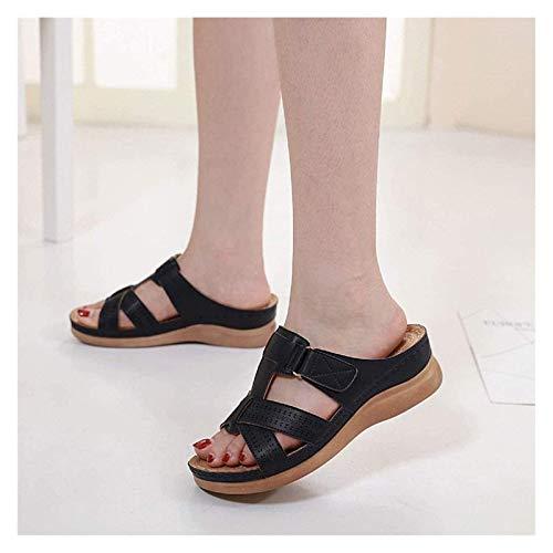 SLM-max Zapatillas Unisex,Sandalias con Pantuflas para Mujer Sandalias de Verano Zapatos para Mujer de algodón con Suela Antideslizante (Color: Negro, Talla: 8 UK Estrecho)